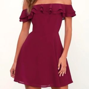 Cute off-the-shoulder homecoming dress